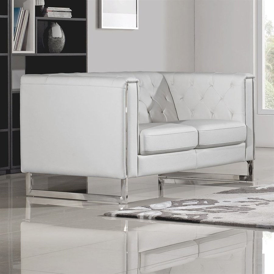 Shop DIAMOND SOFA Chelsea Glam White Faux Leather Loveseat at Lowes.com