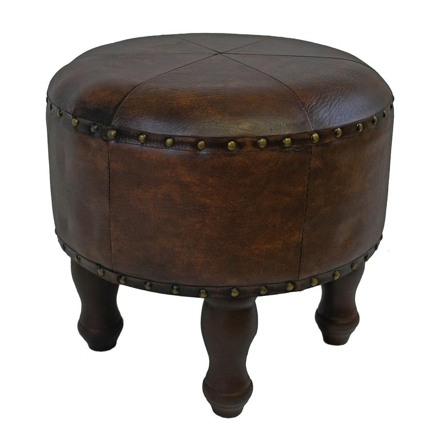 International Caravan Istanbul Rustic Brown Faux Leather Round Ottoman
