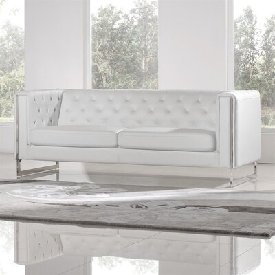 Amazing Diamond Sofa Chelsea Glam White Faux Leather Sofa At Lowes Com Caraccident5 Cool Chair Designs And Ideas Caraccident5Info