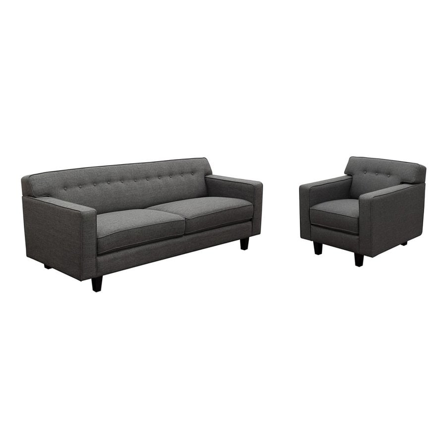 DIAMOND SOFA 2-Piece Mid-Century Slate Living Room Set