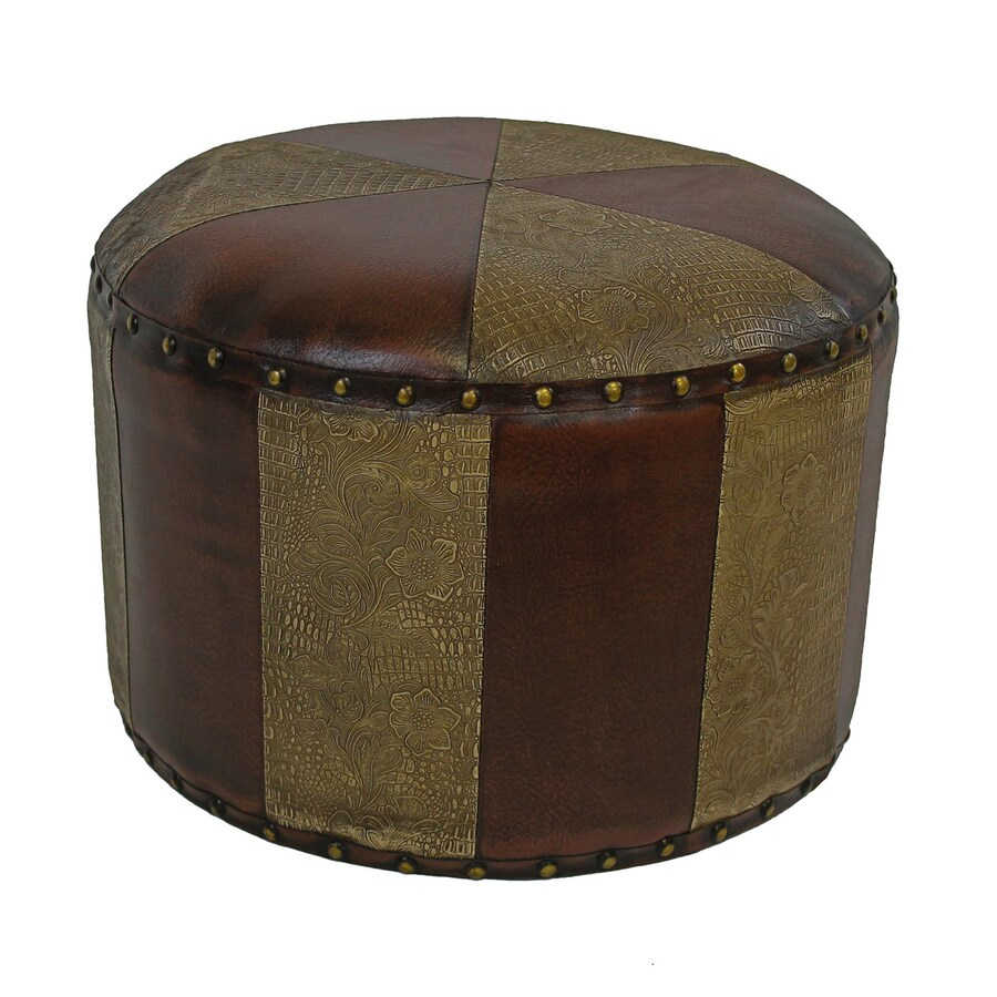 International Caravan Istanbul Rustic Mixed Patchwork Faux Leather Round Ottoman