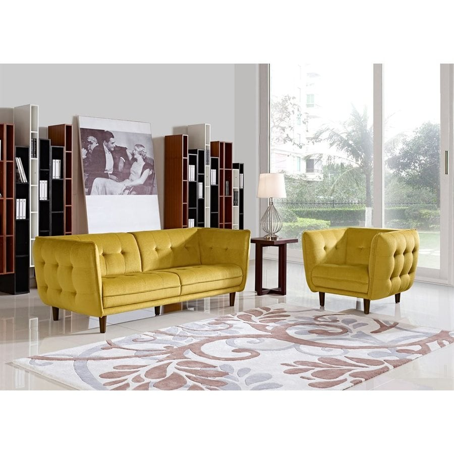 Shop diamond sofa 2 piece venice yellow living room set at for 2 piece living room furniture set