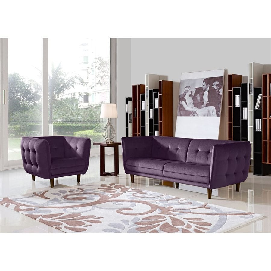DIAMOND SOFA 2-Piece Venice Purple Living Room Set