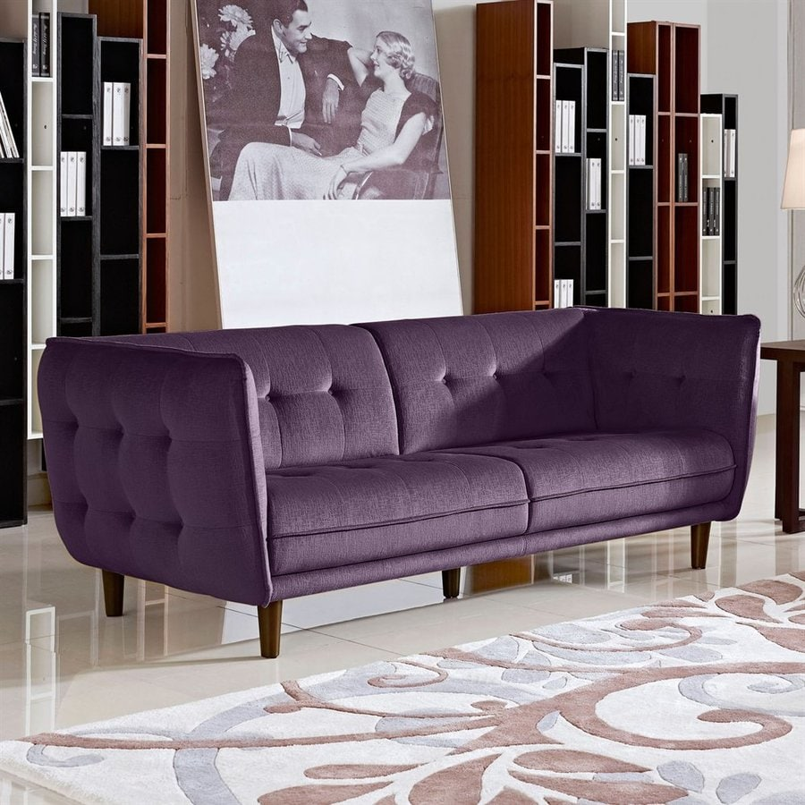 Diamond sofa venice midcentury purple polyester polyester blend sofa