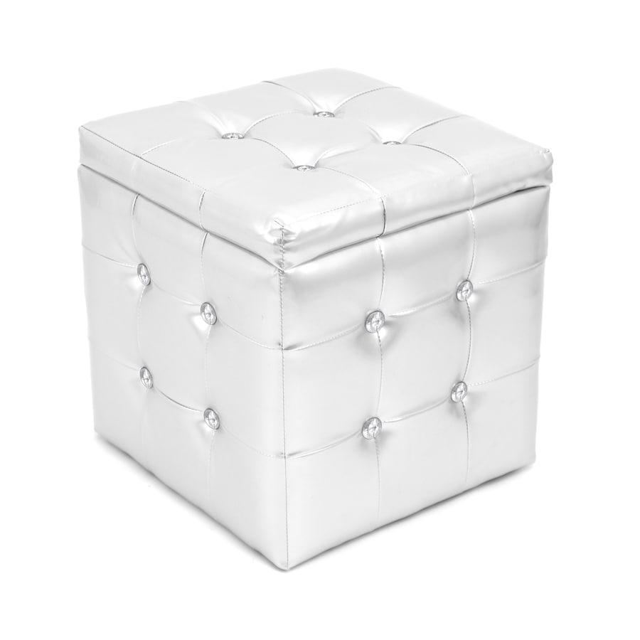 Lumisource Glam Silver Storage Ottoman