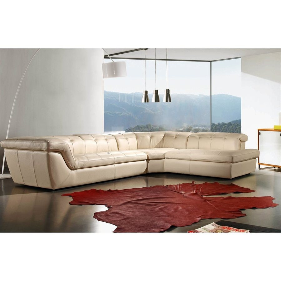 J&M Furniture 397 Midcentury Beige Genuine Leather Sectional