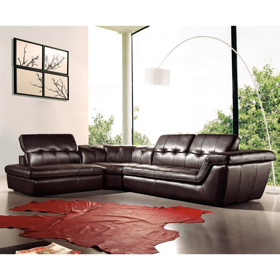 J M Furniture 397 Midcentury Chocolate Genuine Leather Sectional At