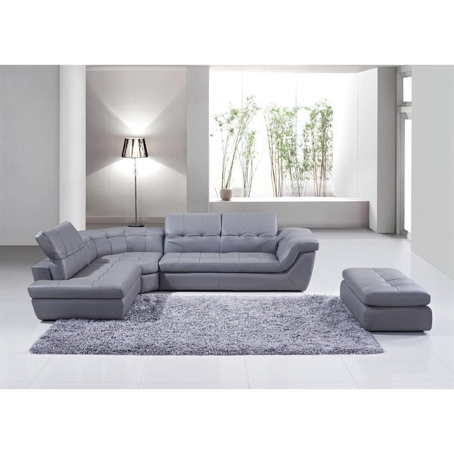 Shop J&M Furniture 397 Midcentury Gray Genuine Leather Sectional at ...
