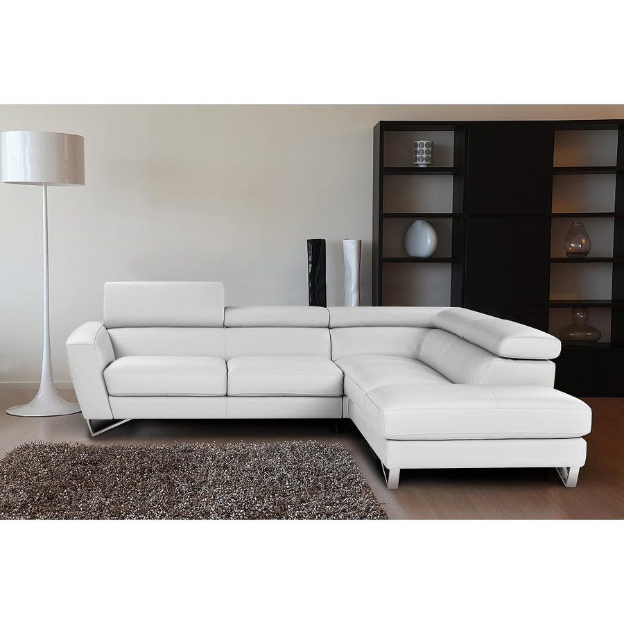 Shop J&M Furniture Sparta White Genuine Leather Sectional at Lowes.com