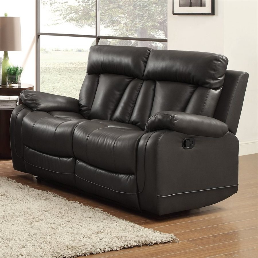Homelegance Ackerman Casual Black Faux Leather Reclining Loveseat