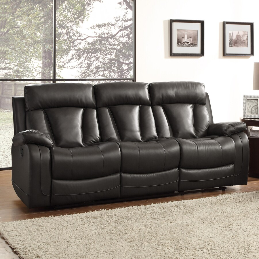 Homelegance Ackerman Casual Black Faux Leather Reclining Sofa
