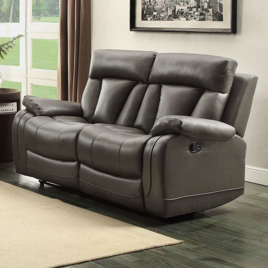 Homelegance Ackerman Casual Gray Faux Leather Reclining Loveseat