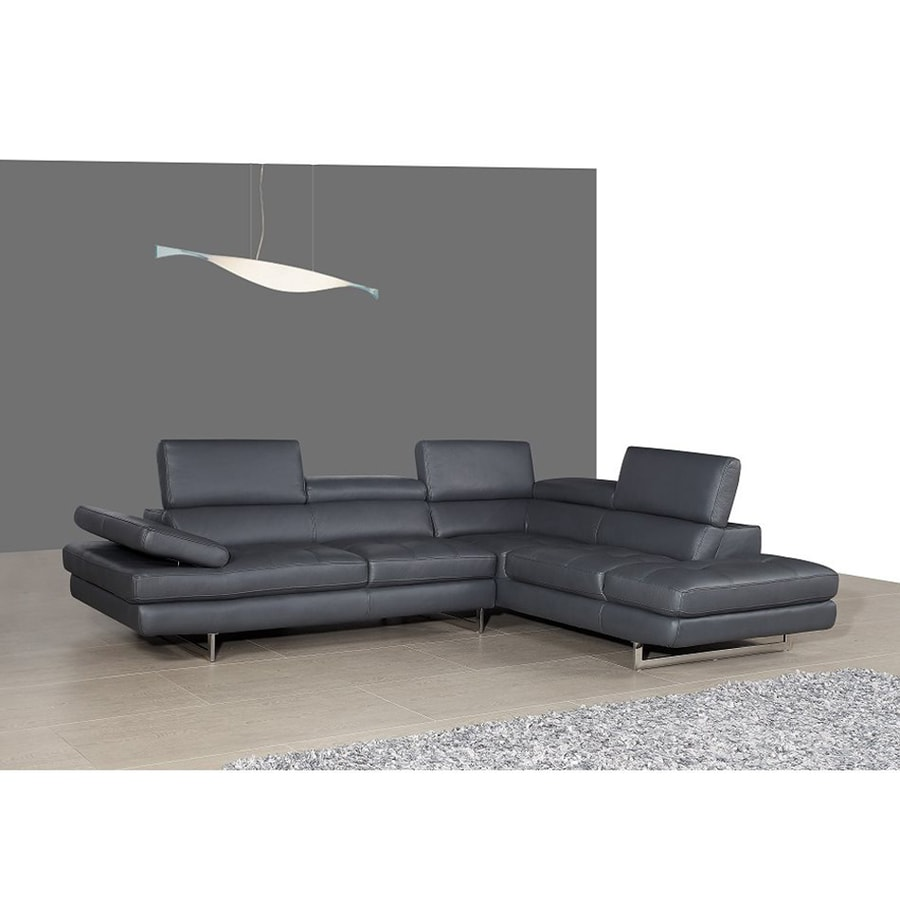 J&M Furniture Slate Gray Genuine Leather Sectional