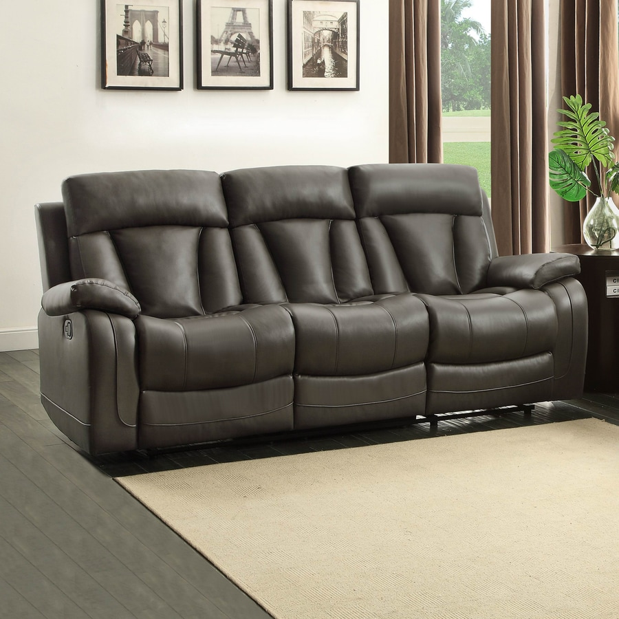 Homelegance Ackerman Casual Gray Faux Leather Reclining Sofa