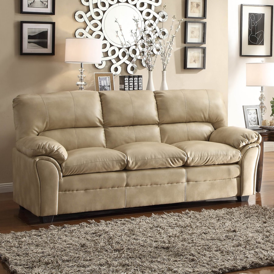 Homelegance Talon Casual Taupe Faux Leather Loveseat