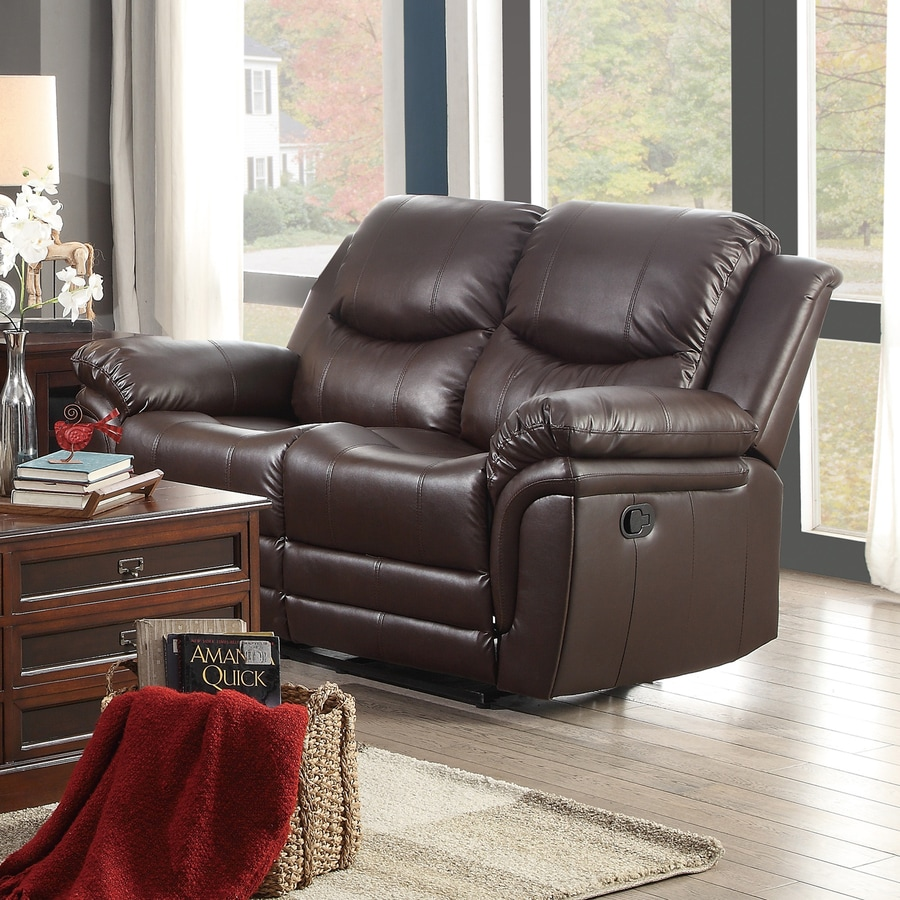 Homelegance St Louis Park Casual Brown Faux Leather Reclining Loveseat