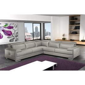 Ju0026M Furniture Gary Modern Gray Genuine Leather Sectional  sc 1 st  Loweu0027s : modern gray leather sectional - Sectionals, Sofas & Couches