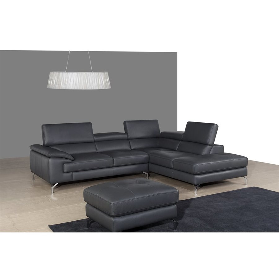 J&M Furniture A973 Modern Slate Gray Genuine Leather Sectional