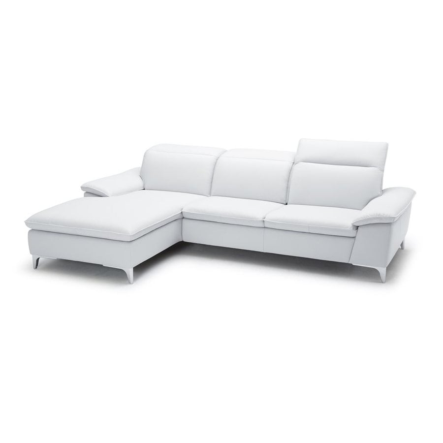 J&M Furniture 1911B Modern White Faux Leather Sectional