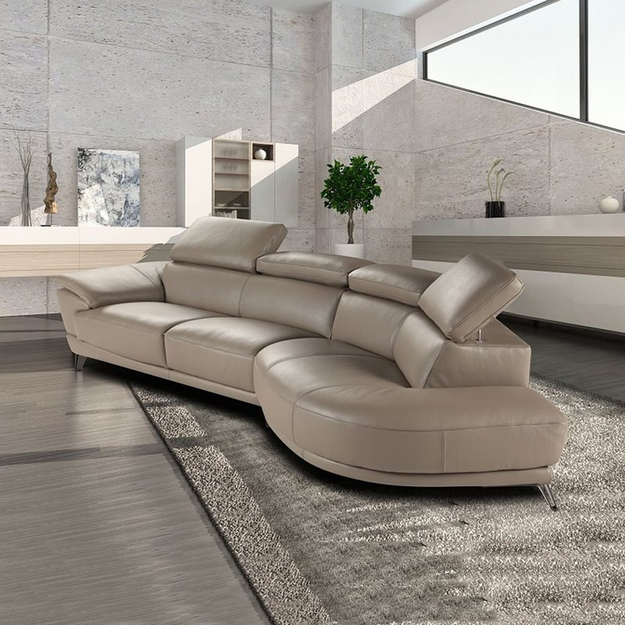 J&M Furniture Marisol Modern Taupe Genuine Leather Sectional