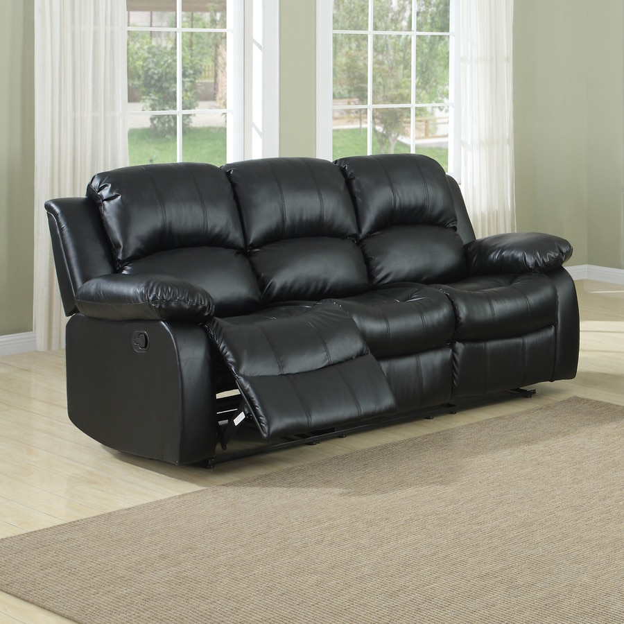 Homelegance Cranley Casual Black Faux Leather Reclining Sofa At