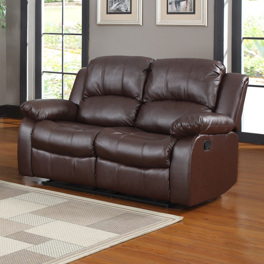 Homelegance Cranley Casual Brown Faux Leather Reclining Loveseat