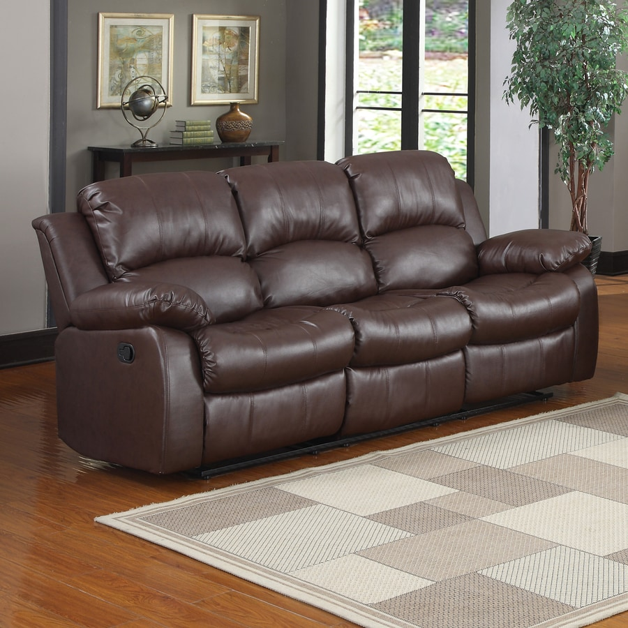 Homelegance Cranley Casual Brown Faux Leather Reclining Sofa