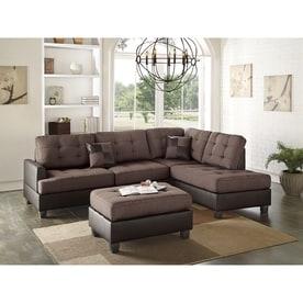 Poundex 3 Piece Bobkona Matthew Chocolate/Dark Brown Living Room Set Part 37
