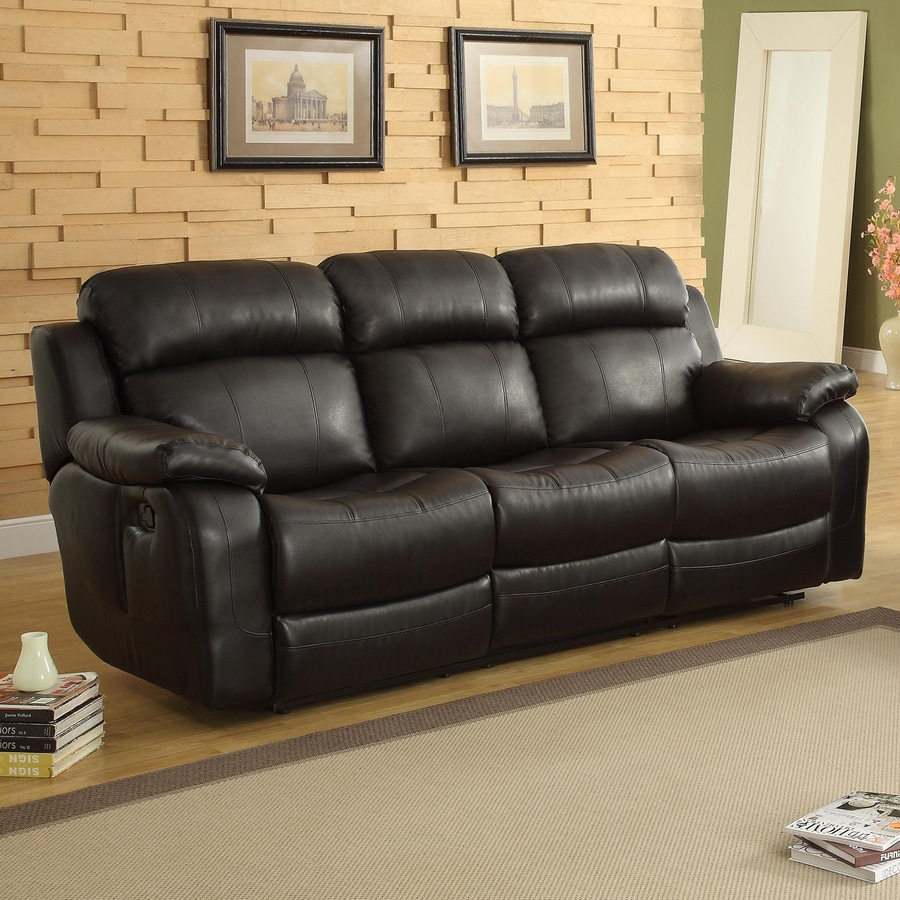 Homelegance Marille Casual Black Faux Leather Reclining Sofa