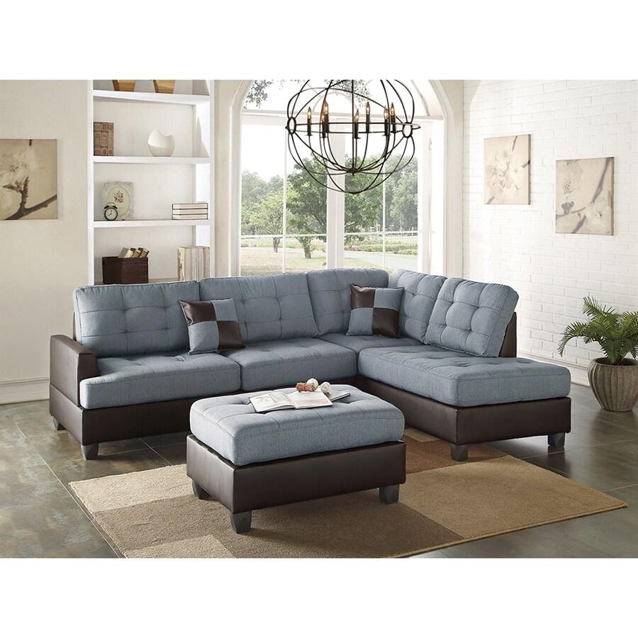 Poundex 3-Piece Bobkona Matthew Grey/Dark Brown Living Room Set