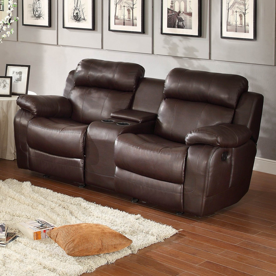 Homelegance Marille Casual Dark Brown Faux Leather Reclining Loveseat