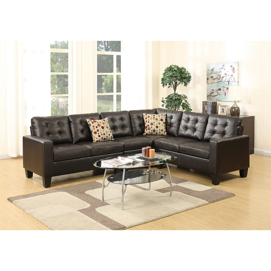 Poundex roxana casual espresso faux leather sectional