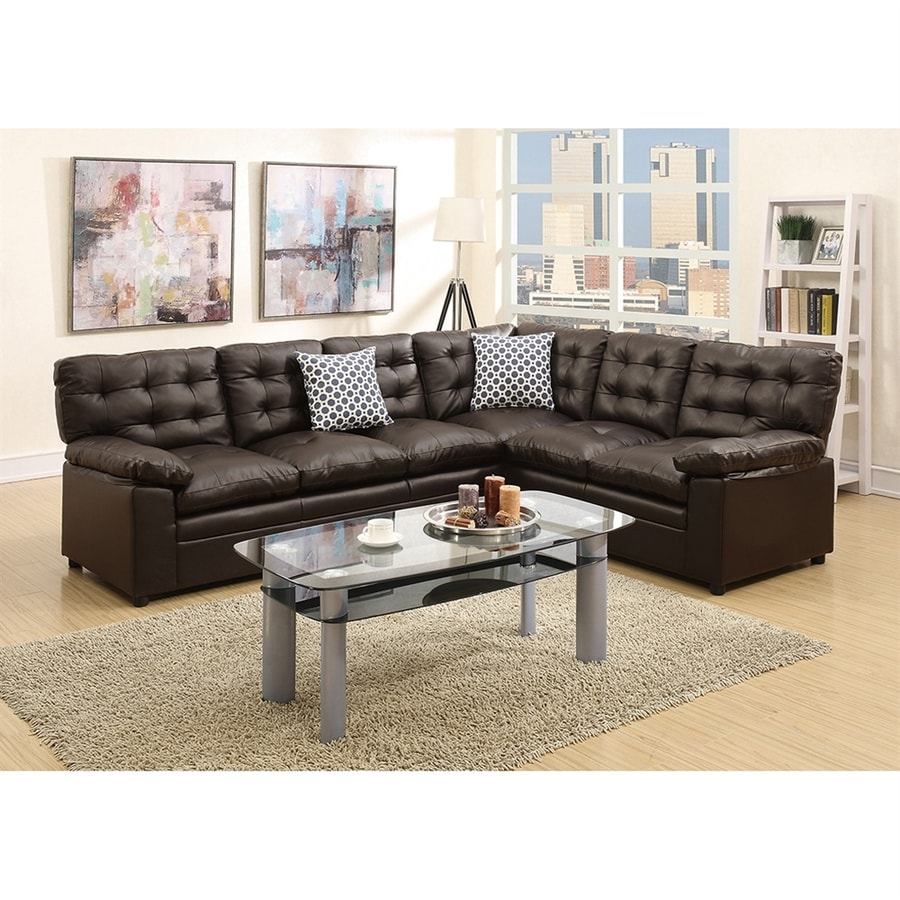 Poundex Eylan Casual Espresso Faux Leather Sectional