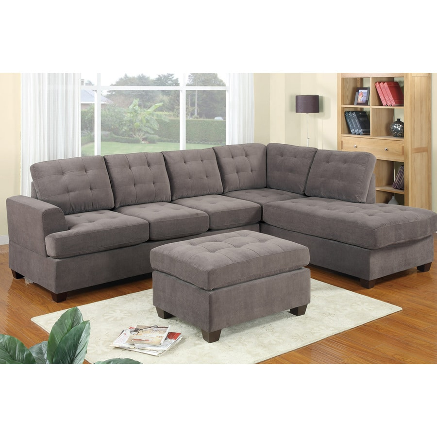 Poundex Charcoal Faux Leather Sectional