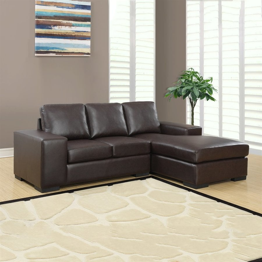 Monarch Specialties Casual Dark Brown Faux Leather Sectional