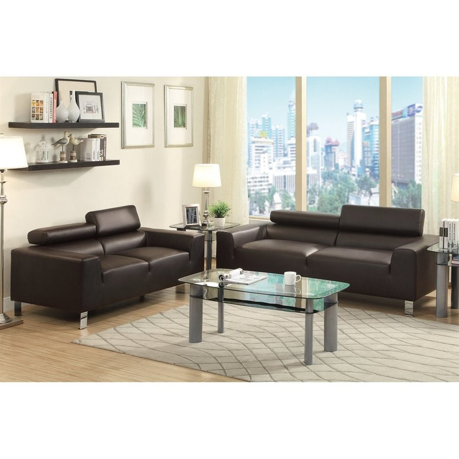 Shop Poundex 2-Piece Bobkona Ellis Espresso Living Room Set at Lowes.com
