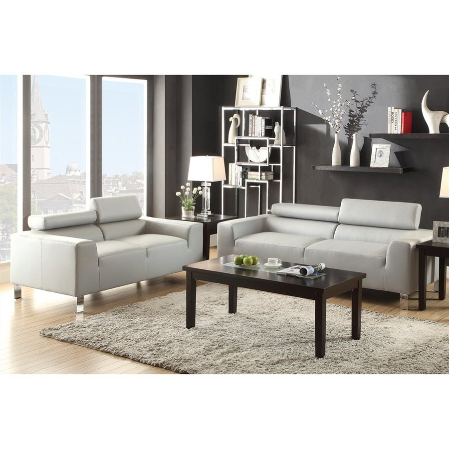 Poundex 2-Piece Bobkona Ellis Grey Living Room Set