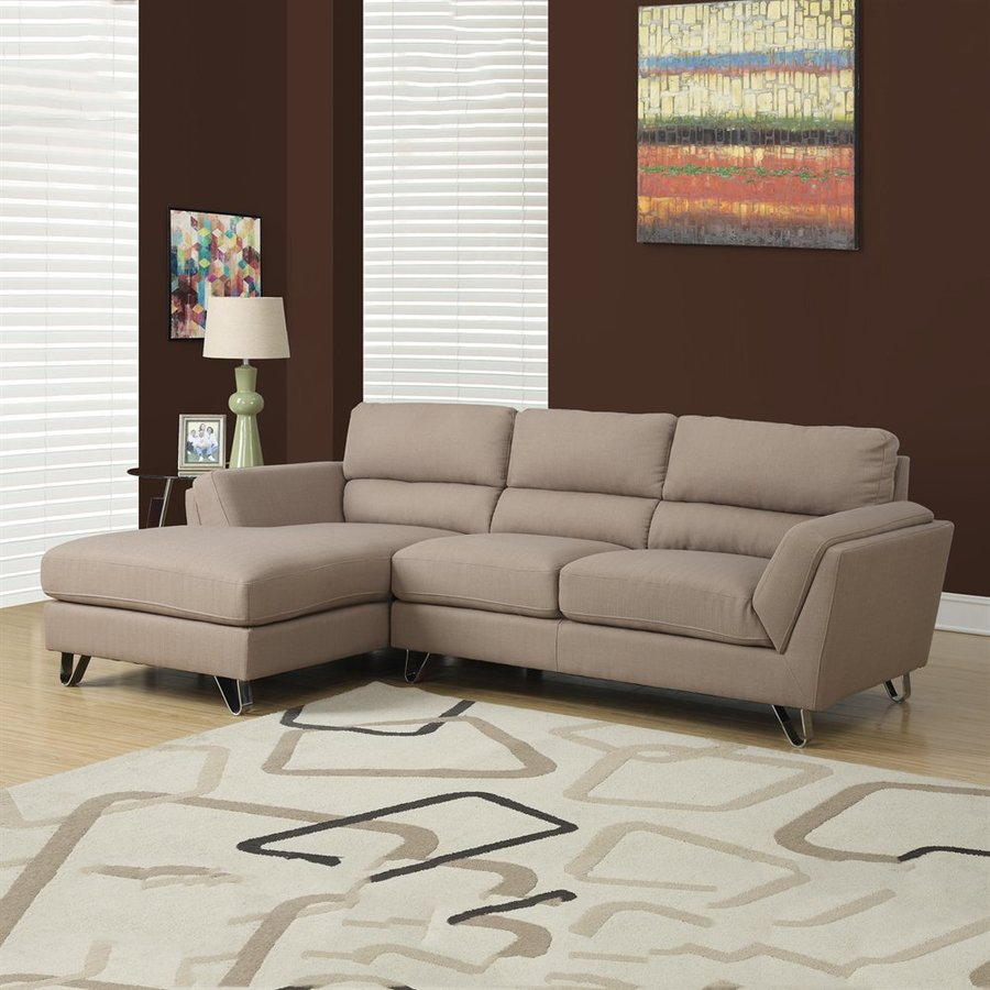 Monarch Specialties Casual Light Brown Linen Sectional