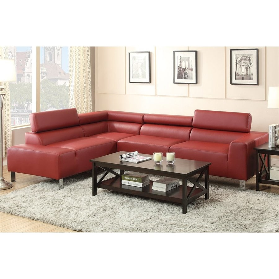 Poundex Casual Burgundy Faux Leather Sectional