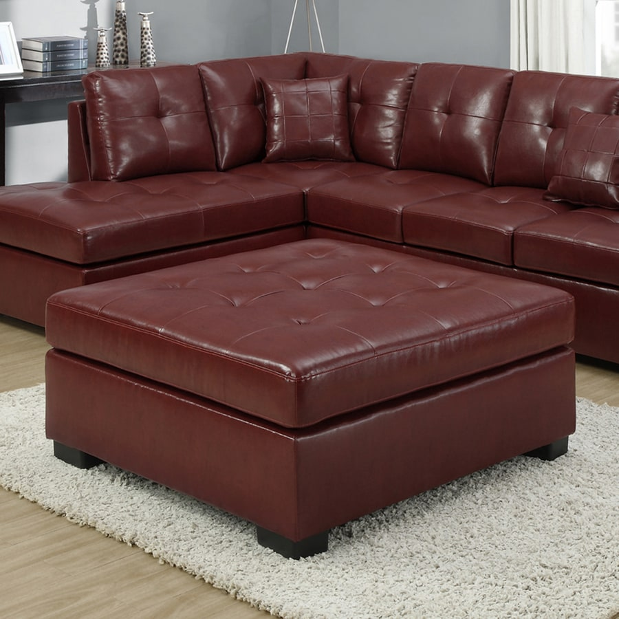Super Monarch Specialties Casual Red Faux Leather Square Ottoman Camellatalisay Diy Chair Ideas Camellatalisaycom