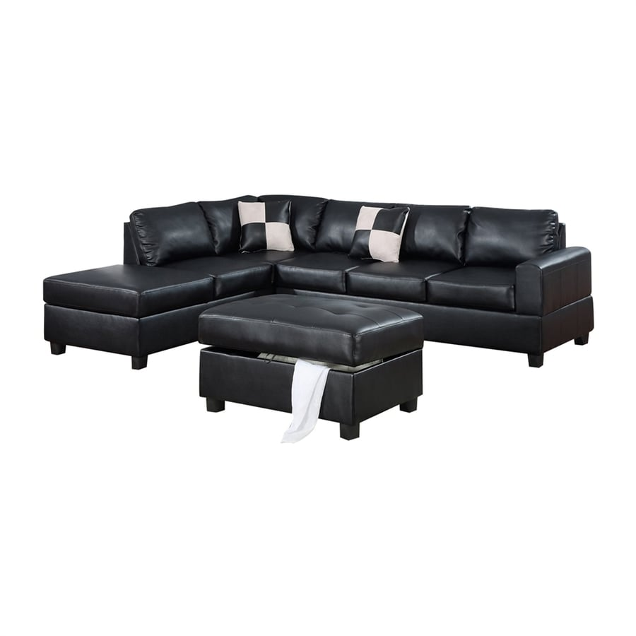 Poundex 3-Piece Bobkona Black Living Room Set