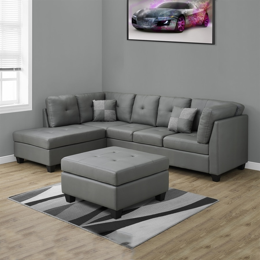 Monarch Specialties Casual Light Gray Faux Leather Sectional