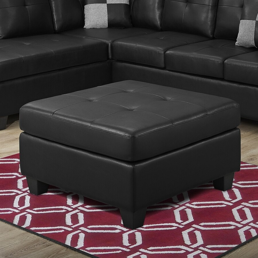 Monarch Specialties Casual Black Faux Leather Ottoman
