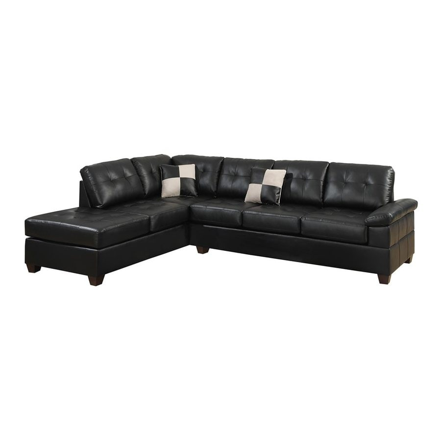 Poundex Randel Casual Black Faux Leather Sectional