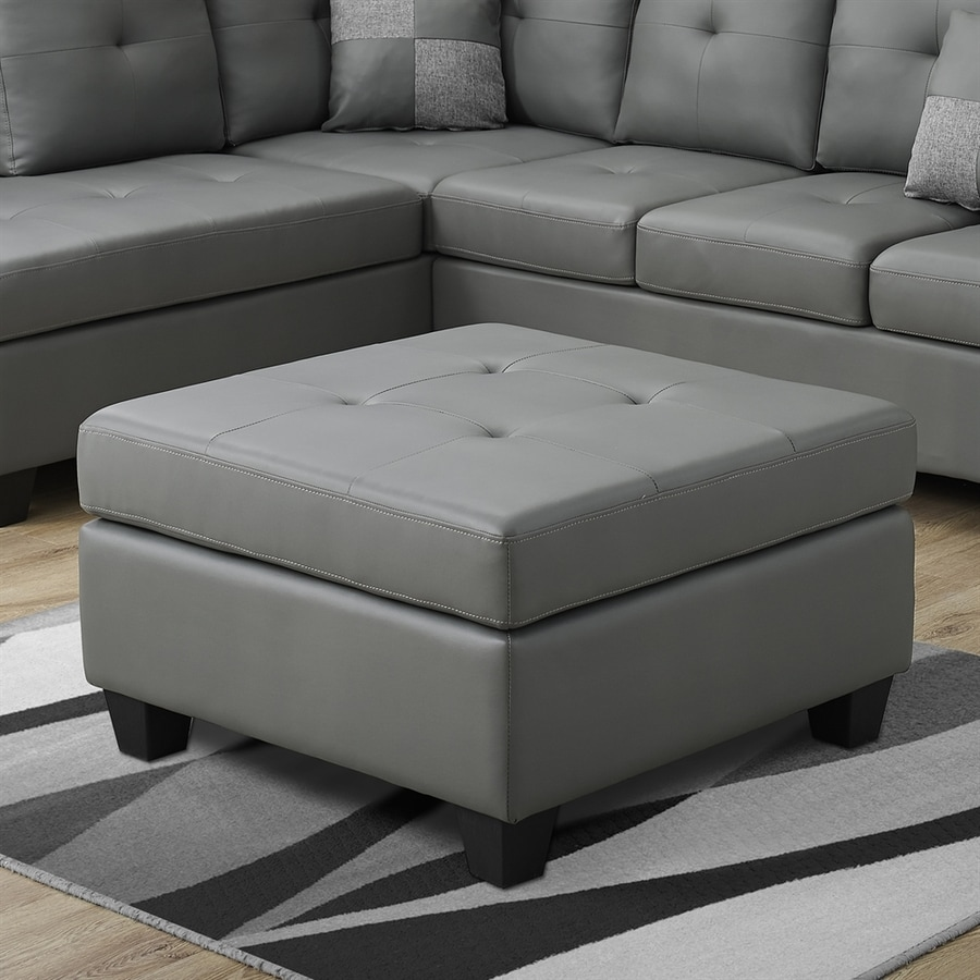 Monarch Specialties Casual Light Gray Faux Leather Square Ottoman