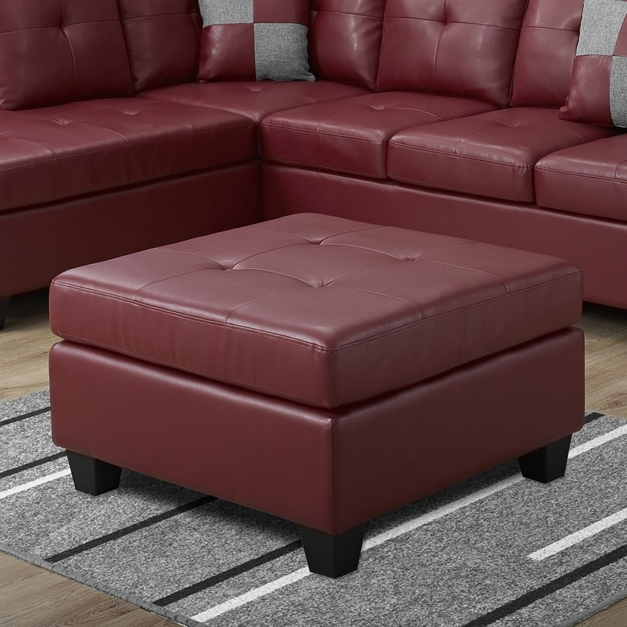 Monarch Specialties Casual Red Faux Leather Ottoman