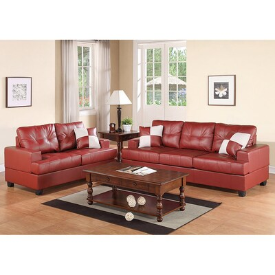 Poundex 2-Piece Bobkona Sherman Burgundy Living Room Set at ...