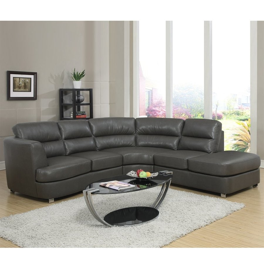 Monarch Specialties Casual Dark Gray Faux Leather Sectional