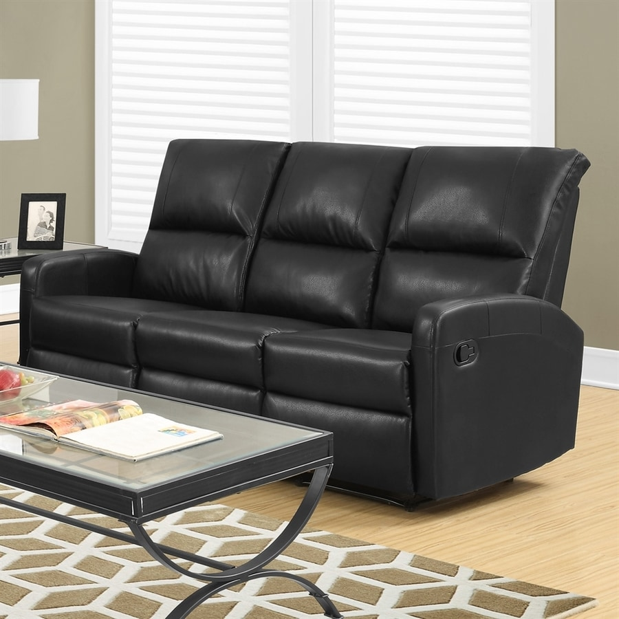 Monarch Specialties Casual Black Faux Leather Sectional