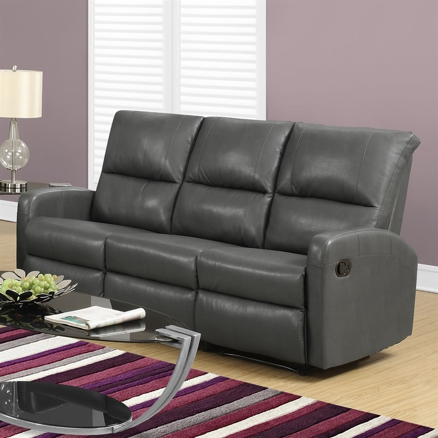 shop monarch specialties casual charcoal gray faux leather sectional at. Black Bedroom Furniture Sets. Home Design Ideas
